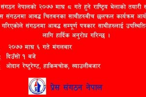 प्रेस संगठन चितवनको समन्वयमा भरतपुरमा आज  बृहत छलफल हुँदै